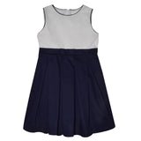 Navy Blue And White Pique Sleeveless Dress With Pleated Skirt - Vive La Fête - Online Children's Apparel