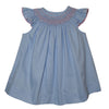 Geometric Smocked Light Blue Pique Angel Wing Bishop Dress - Vive La Fête - Online Children's Apparel