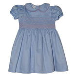 Geometric Smocked Light Blue Pique Dress Short Sleeve - Vive La Fête - Online Children's Apparel