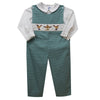 Smocked rudolph in hunter green overall - Vive La Fête - Online Apparel Store