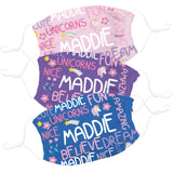 Magical Personalized Name Colors Face Mask Set of Three - Vive La Fête - Online Apparel Store