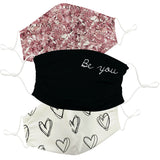 Be You White and Pink Face Mask Set of Three - Vive La Fête - Online Apparel Store