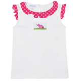 Elephant Smocked White Sleeveless Girls Blouse - Vive La Fête - Online Apparel Store