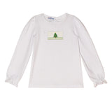Xmas Tree Smocked Girls Top - Vive La Fête - Online Apparel Store