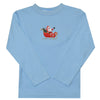 Santa Claus Embroidery Light Blue Long Sleeve Boys Tee Shirt - Vive La Fête - Online Apparel Store