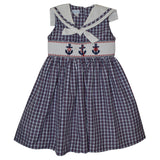 Anchors Smocked Navy and Red Plaid Dress