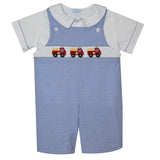 Firetrucks Smocked Royal Check Seersucker Boys Shortall - Vive La Fête - Online Apparel Store
