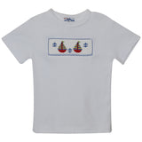 Sailboat Smocked White Knit Boys Tee Shirt Short Sleeve - Vive La Fête - Online Apparel Store