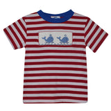 Whales Smocked Red Stripe Knit Boys Tee Shirt Short Sleeve