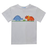 Dinosaurs Applique White Knit Boys Tee Shirt Short Sleeve - Vive La Fête - Online Apparel Store