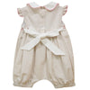 Beige Mini Check Smocked Angel Wing Girls Bubble - Vive La Fête - Online Apparel Store