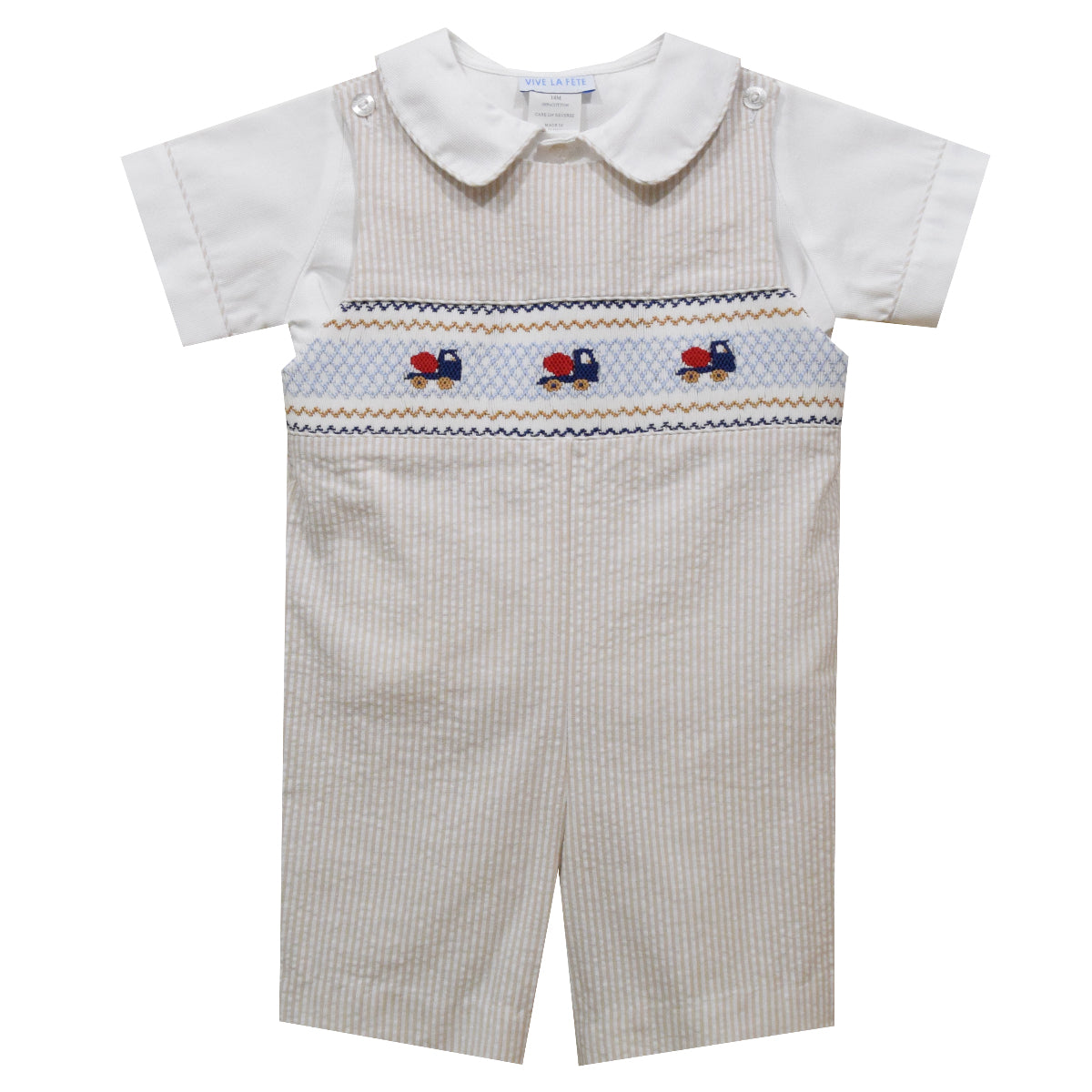 Mix Truck Geometric Smocked Beige Mini Check Shortall and White Short Sleeve Shirt - Vive La Fête - Online Apparel Store