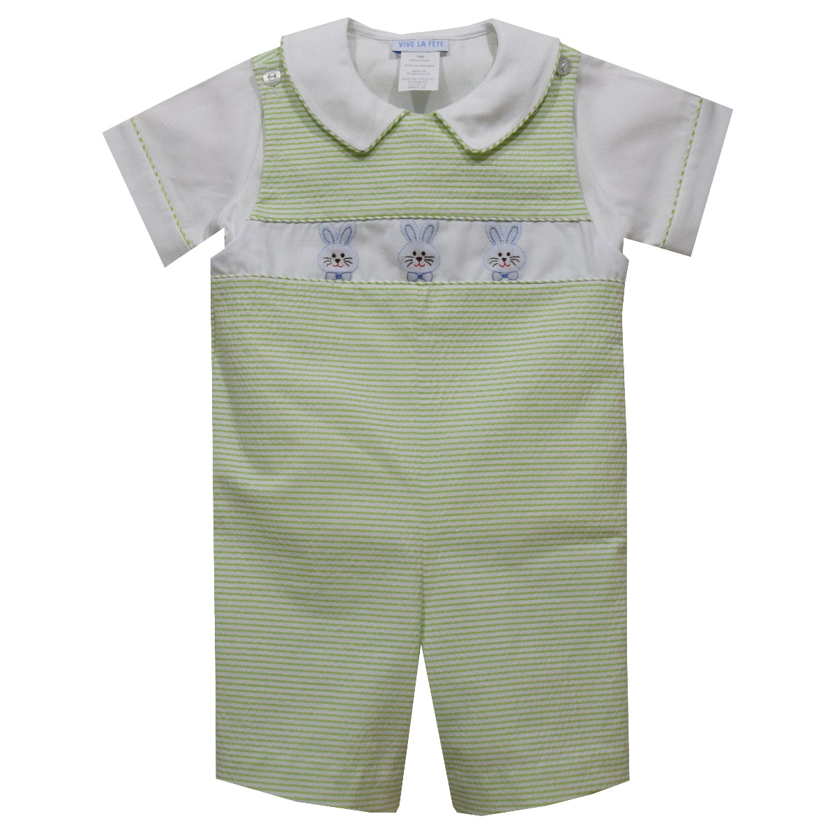Bunnies Shadow Smocked Lime Green Stripe Seersucker Short Sleeve Boys Shortall and Shirt - Vive La Fête - Online Apparel Store