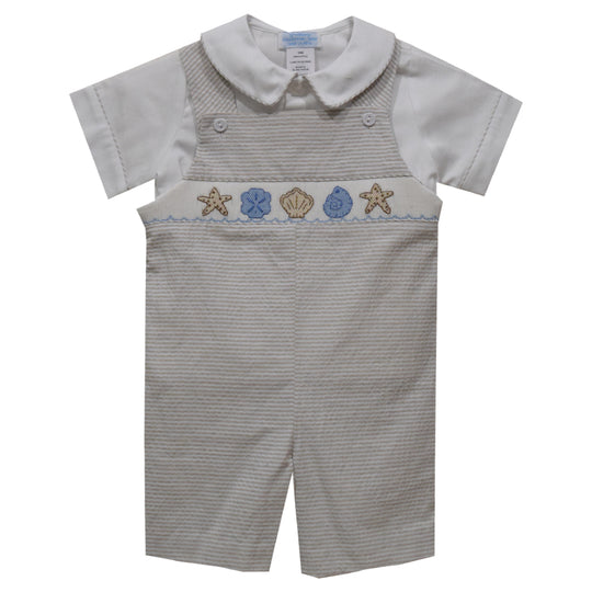 Seashells Smocked Beige Mini Check Short Sleeve Boys Shortall and Shirt - Vive La Fête - Online Apparel Store
