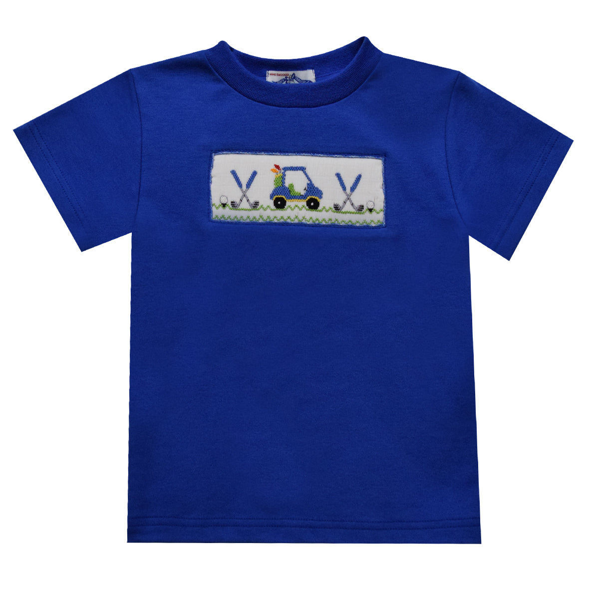 Golf Car Smocked Royal Knit Short Sleeve Boys Tee Shirt