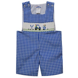 Golf Car Smocked Blue Plaid Boys Sunsuit - Vive La Fête - Online Apparel Store
