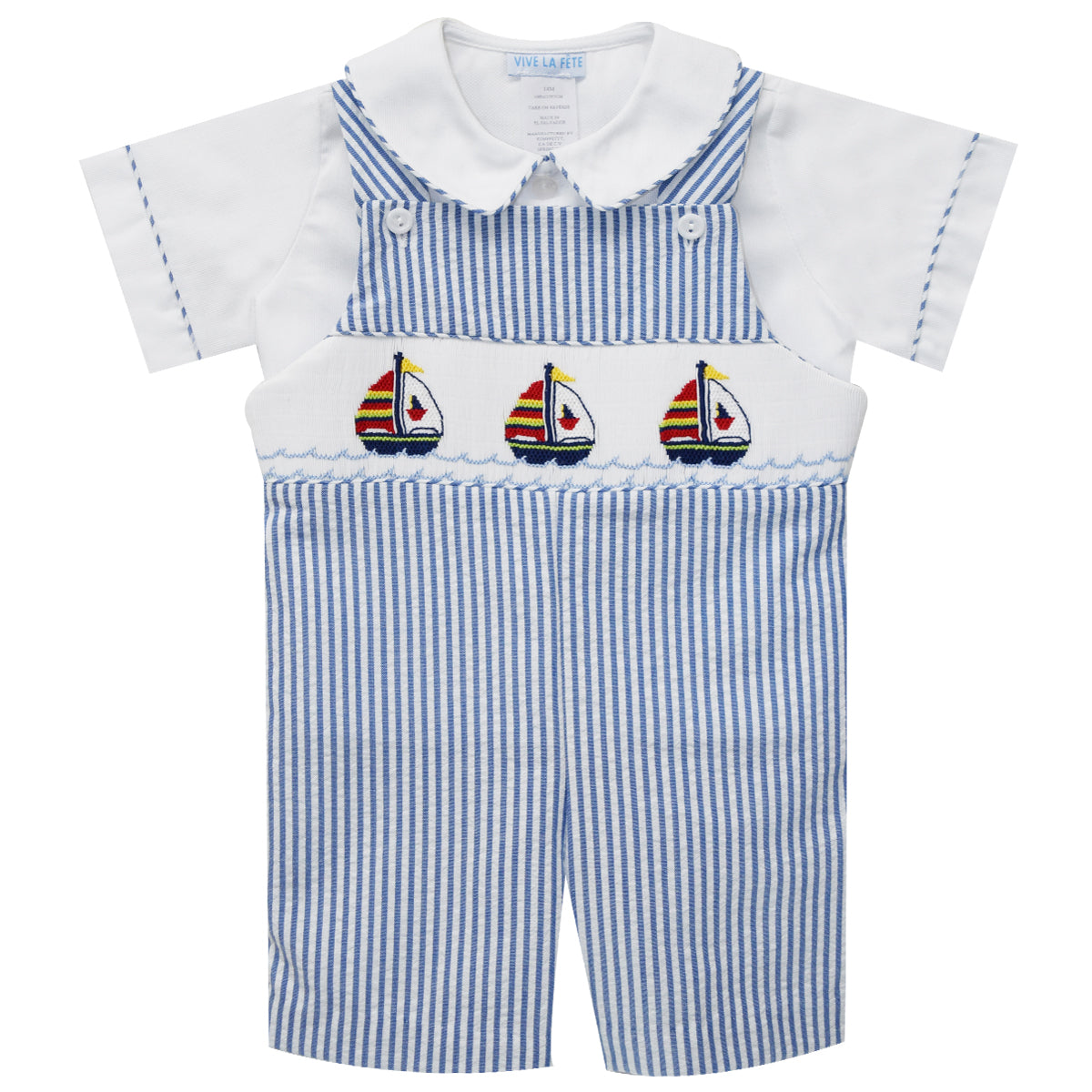 Hand Smocked Sailboat Shortall - Vive La Fête - Online Apparel Store