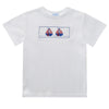 Sailboats Smocked White Knit Short Sleeve Boys Tee Shirt - Vive La Fête - Online Apparel Store