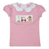 Golf Car Smocked Hot Pink Stripe Knit Girls Top Puff Sleeve - Vive La Fête - Online Apparel Store