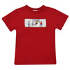 Soccer Smocked Red Knit Boys Tee Shirt Short Sleeve - Vive La Fête - Online Children's Apparel