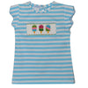 Popsicles Smocked Aqua Big Stripe Knit Girls Top Scallop Sleeve - Vive La Fête - Online Apparel Store