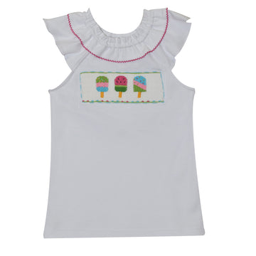 Popsicles Smocked White Knit Girls Top Ruffle Collar Angel Wing Sleeve - Vive La Fête - Online Apparel Store