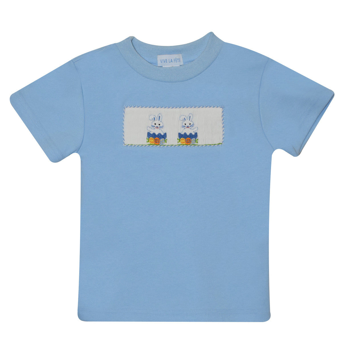 Easter Smocked Light Blue Knit Boys Tee Shirt Short Sleeve - Vive La Fête - Online Apparel Store