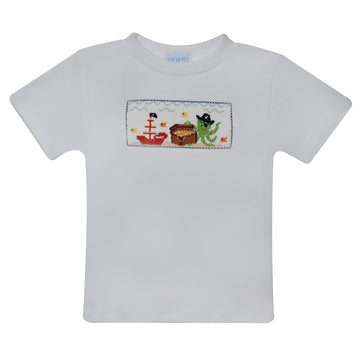 Octopus Smocked White Knit Boys Tee Shirt Short Sleeve - Vive La Fête - Online Apparel Store