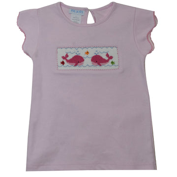 Whales Smocked Light Pink Knit Girls Top Scallop Sleeve - Vive La Fête - Online Apparel Store