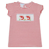 Shrimps Smocked Red Stripe Knit Girls Top Scallop Sleeve