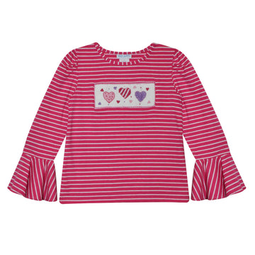 Valentines Day Smocked Hot Pink Stripe Knit Girls Top Bell Long Sleeve - Vive La Fête - Online Apparel Store