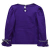 Mardi Gras Smocked Purple Knit Girls Long Sleeve Tee Shirt - Vive La Fête - Online Apparel Store
