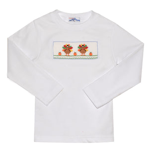 Turkey Smocked White Knit Boys Tee Shirt