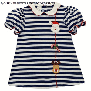 Christmas Day Applique Royal Stripe Knit A Line Dress Short