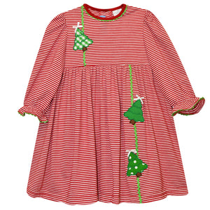 Christmas Tree Applique Red Stripe Knit Girls Empire Dress
