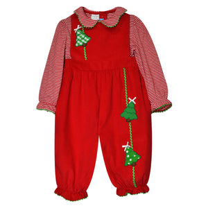 Christmas Tree Applique Red Corduroy Girls Overall and Red
