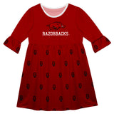 Arkansas Print Red Amy Dress Three Quarter Sleeve - Vive La Fête - Online Children's Apparel