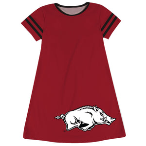 Arkansas Razorbacks Big Logo Red Stripes Short Sleeve A Line Dress
