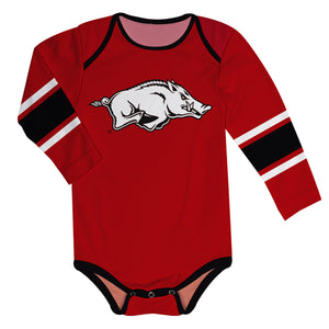 Arkansas Razorbacks Stripes Red Long Sleeve Onesie - Vive La Fête - Online Children's Apparel