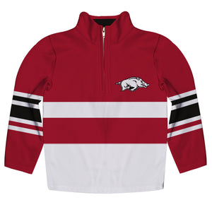 Arkansas Razorbacks Logo Stripes Red Long Sleeve Quarter Zip Sweatshirt