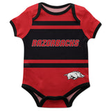 Arkansas Razorbacks Razorbacks Block Stripe Red Short Sleeve Onesie