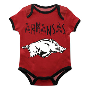 Arkansas Razorbacks Red Solid Short Sleeve Onesie
