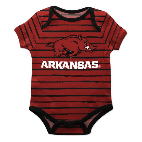 Arkansas Stripe Red and Black Boys Onesie Short Sleeve