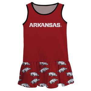 Arkansas Razorbacks Repeat Logo Red Sleeveless Lily Dress - Vive La Fête - Online Children's Apparel