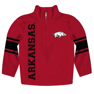 Arkansas Razorbacks Stripes Red Long Sleeve Quarter Zip Sweatshirt