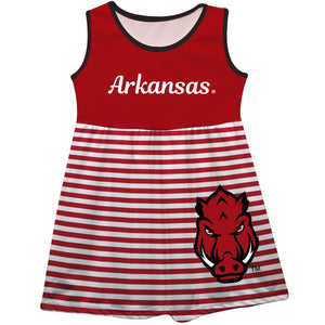 Arkansas Razorbacks Big Logo Red And White Stripes Tank Dress