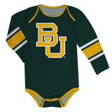 Baylor Bears Stripes Green Long Sleeve Onesie