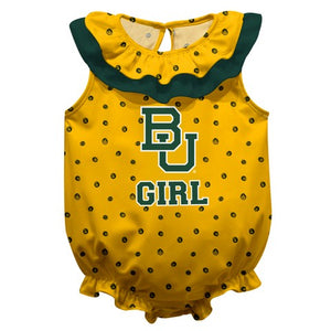 Baylor Swirls Gold Girls Sleeveless Onesie