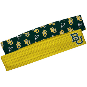 Baylor Bears Gold Solid And Green Repeat Logo Headband Set