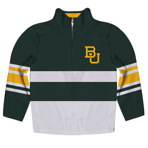 Baylor Bears Logo Stripes Green Long Sleeve Quarter Zip Sweatshirt